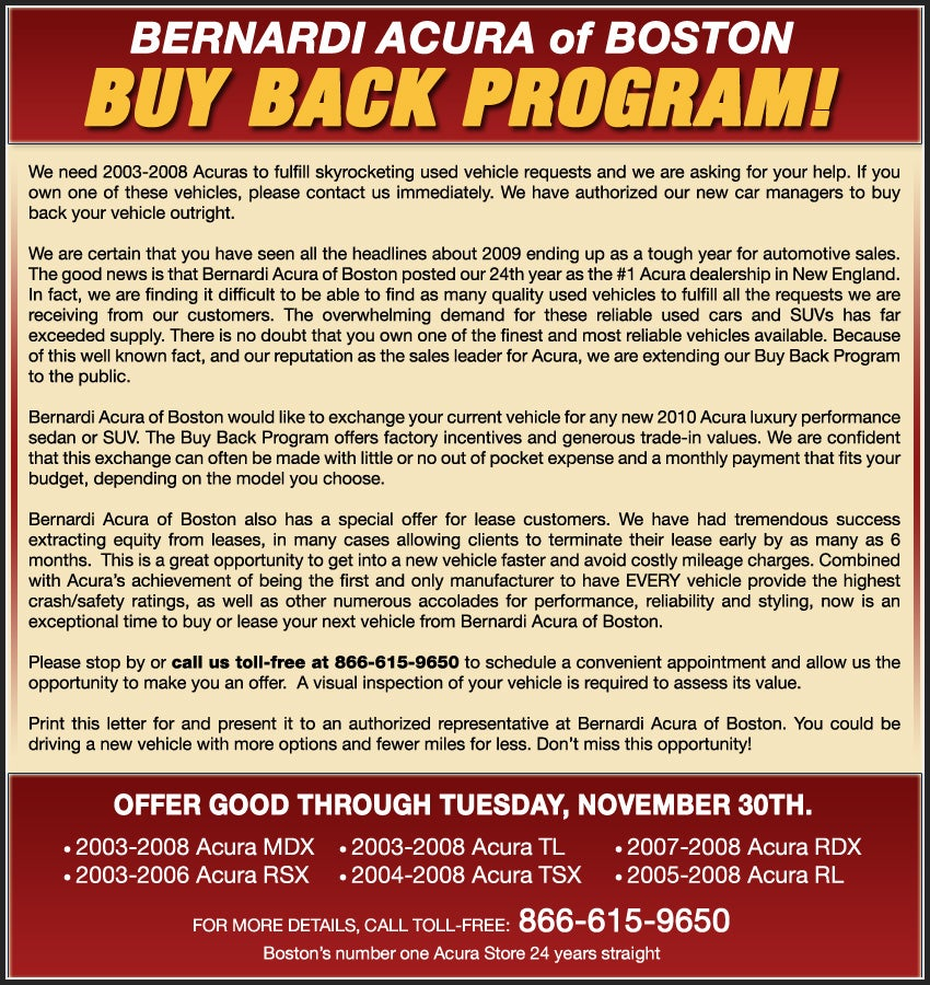 Bernardi Acura Of Boston Buy Back Program