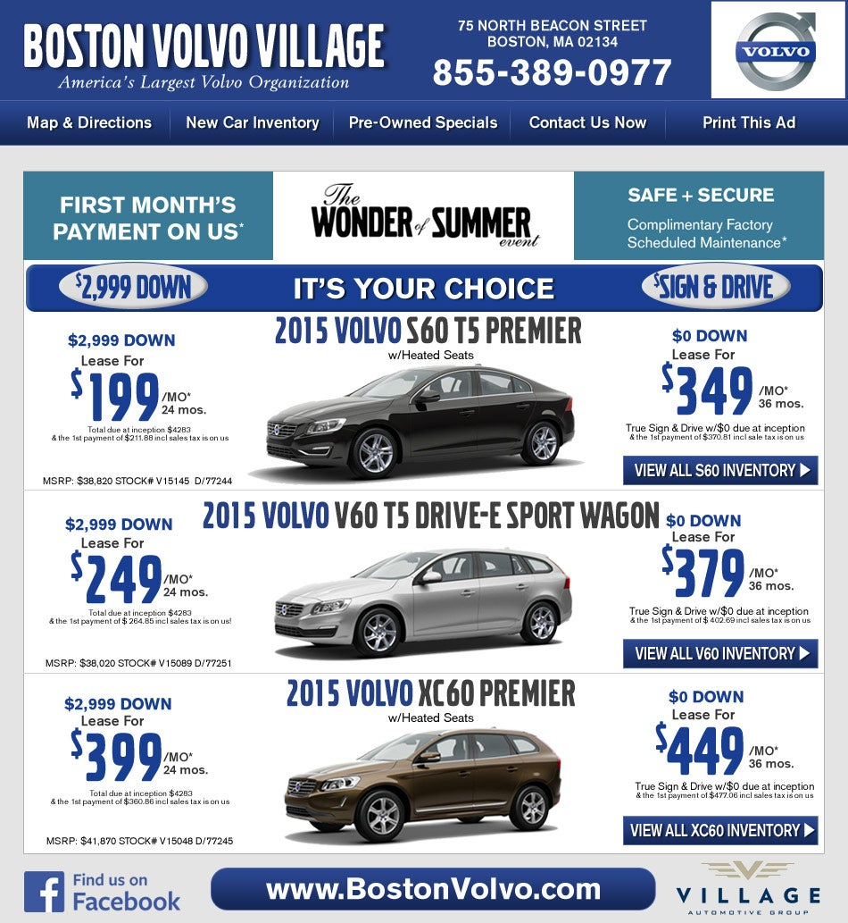 Boston Volvo Village Dealers Specials On Boston Com Shop
