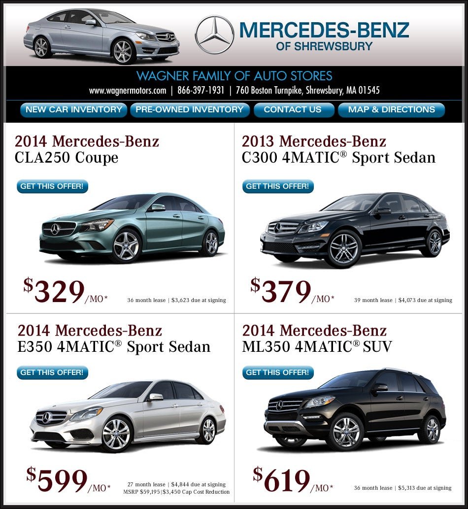Buy lease your new mercedes benz from wagner for Mercedes benz lease programs