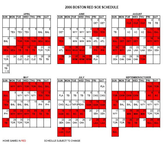 2006 Red Sox Schedule