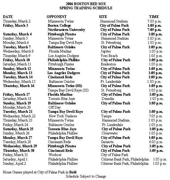 2006 Red Sox Spring Schedule