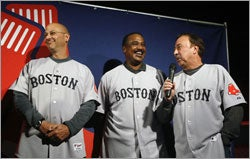 Terry Francona, Jim Rice, and Jerry Remy model the Red Sox new primary road uniform