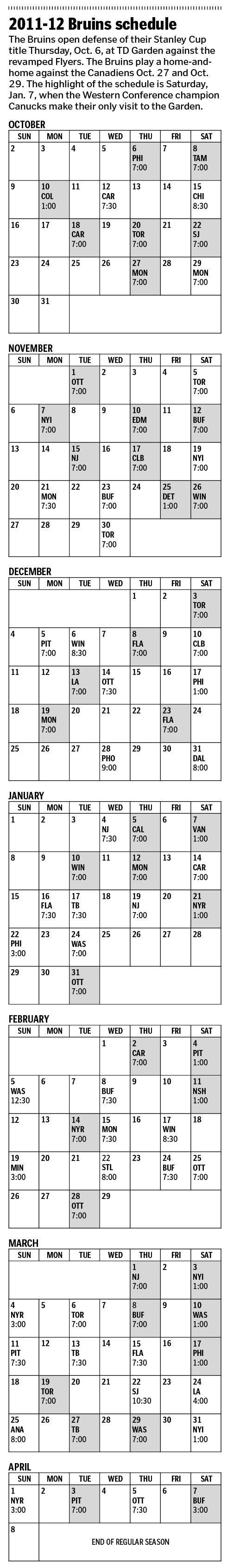 Bruins schedule