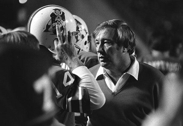 9/29/80. Coach Ron Erhardt talks with Patriots quarterback Steve Grogan