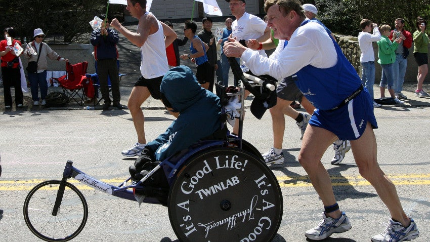 Dick Hoyt (right) and his son Rick Hoyt (left) made their way up Heartbreak Hill in 2008.
