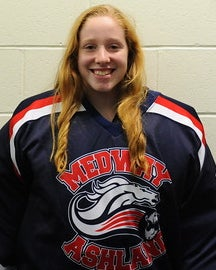 Medway/Ashland girls' hockey four year-starter Kathryn Hamer skated in the controversial MIAA tournament prelimary round matchup with Winthrop/Lynn last season, falling 3-1. Photo courtesy of Kurt Carter.