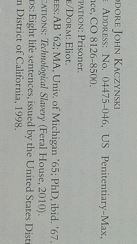 Ted Kaczynski, the Unabomber, lists himself in Harvard 1962
