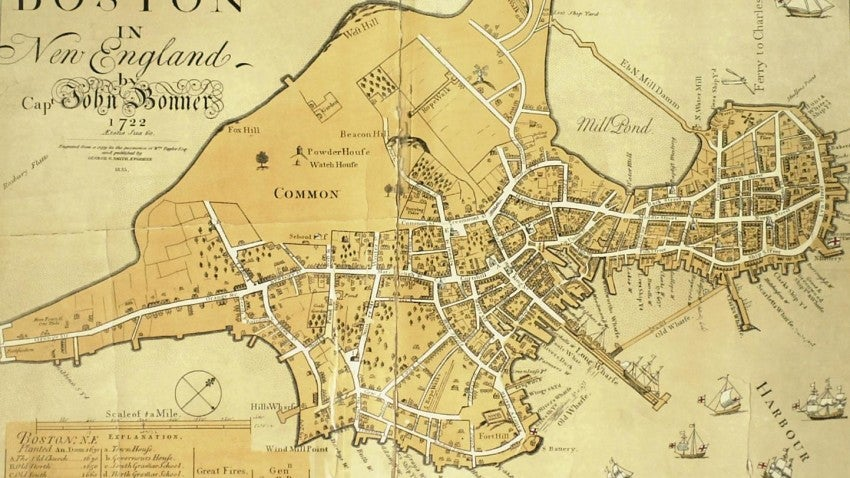 Image result for map of boston 1700s