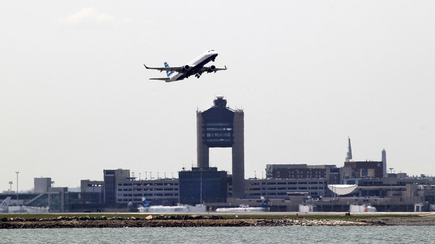 A plane took off from Logan Airport on May 29, 2014.