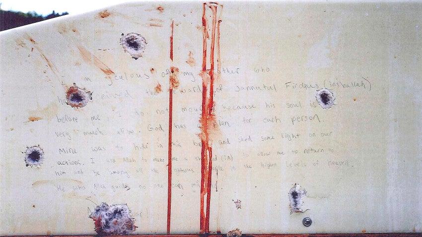 here s the note dzhokhar tsarnaev wrote inside the boat where he was