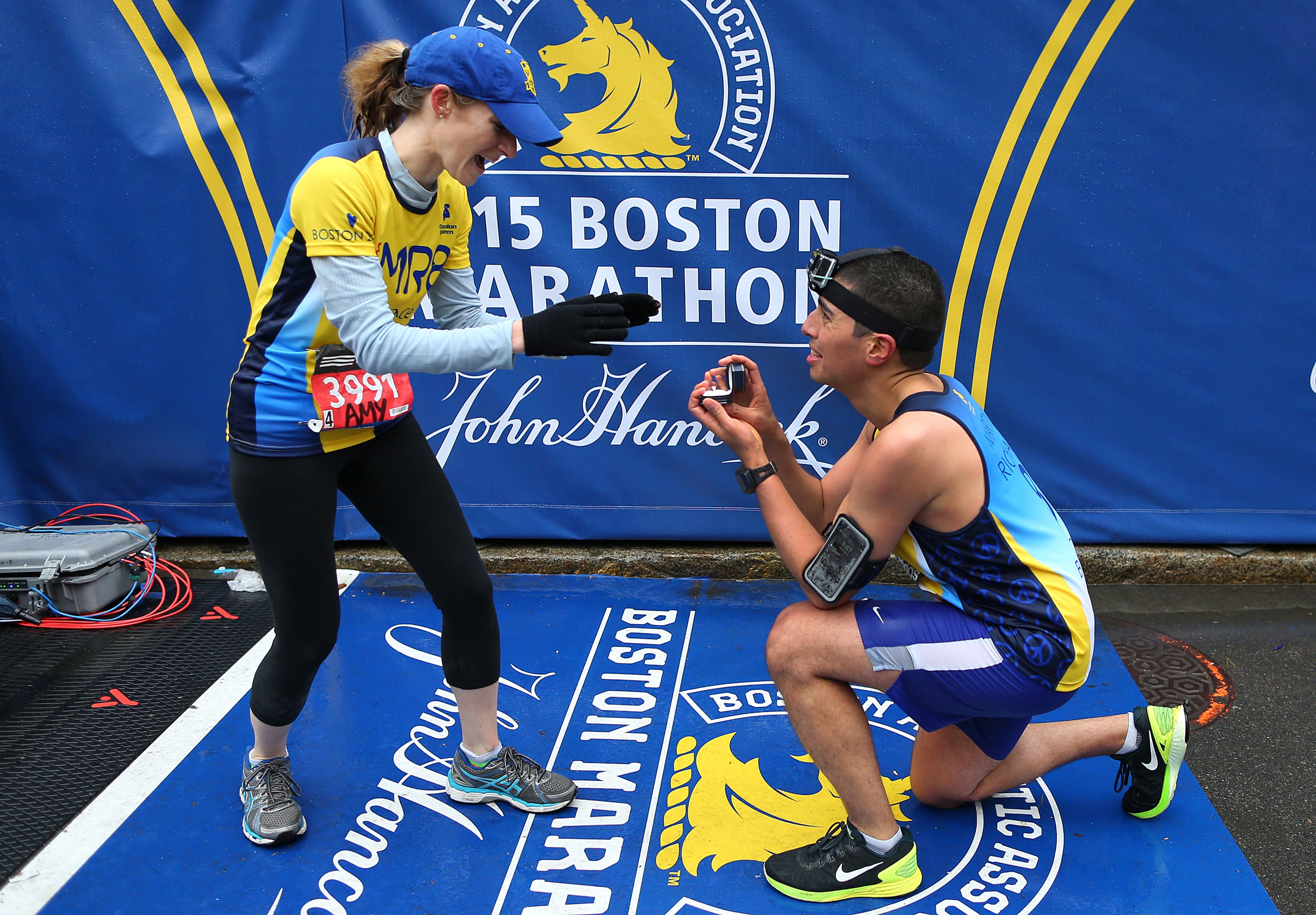 April 20: Will you marry me? Mayor Marty Walsh's Chief of Staff Daniel Koh proposed to his fiancée Amy Sennett on the Boston Marathon finish line after they both finished together.
