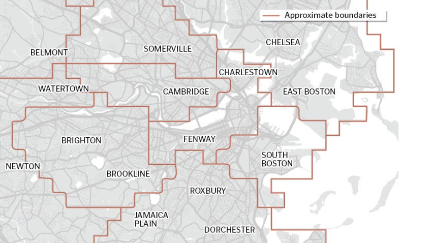 This map shows the Boston boundaries of Uber's surge ...