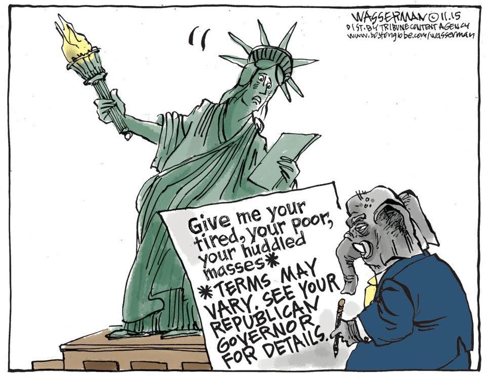 Cartoon Updates Statue Of Libertys Poem In Light Of Refugee
