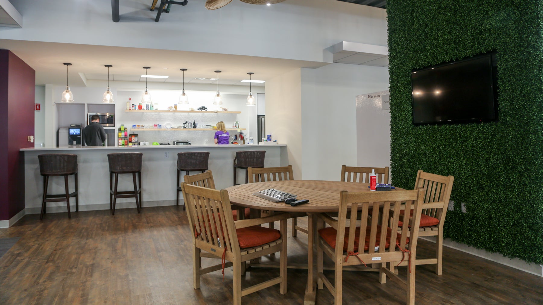 Wayfair has multiple full-sized kitchens stocked with food, drinks, and coffee.