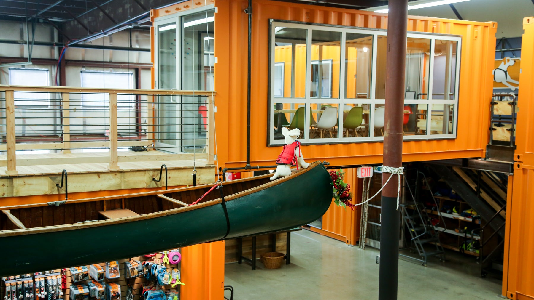 A canoe hanging from the ceiling of the Kurgo offices came from the brothers' grandfather.