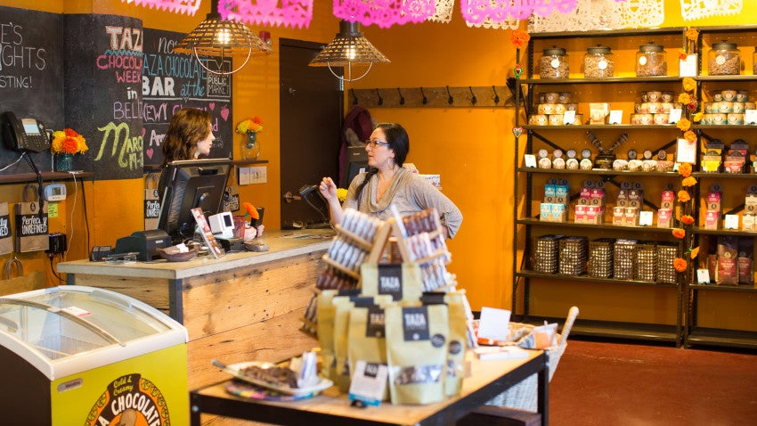 Taza Chocolate also has a store at the Somerville headquarters where customers can buy chocolate bars, discs, nibs, and chocolate covered nuts.