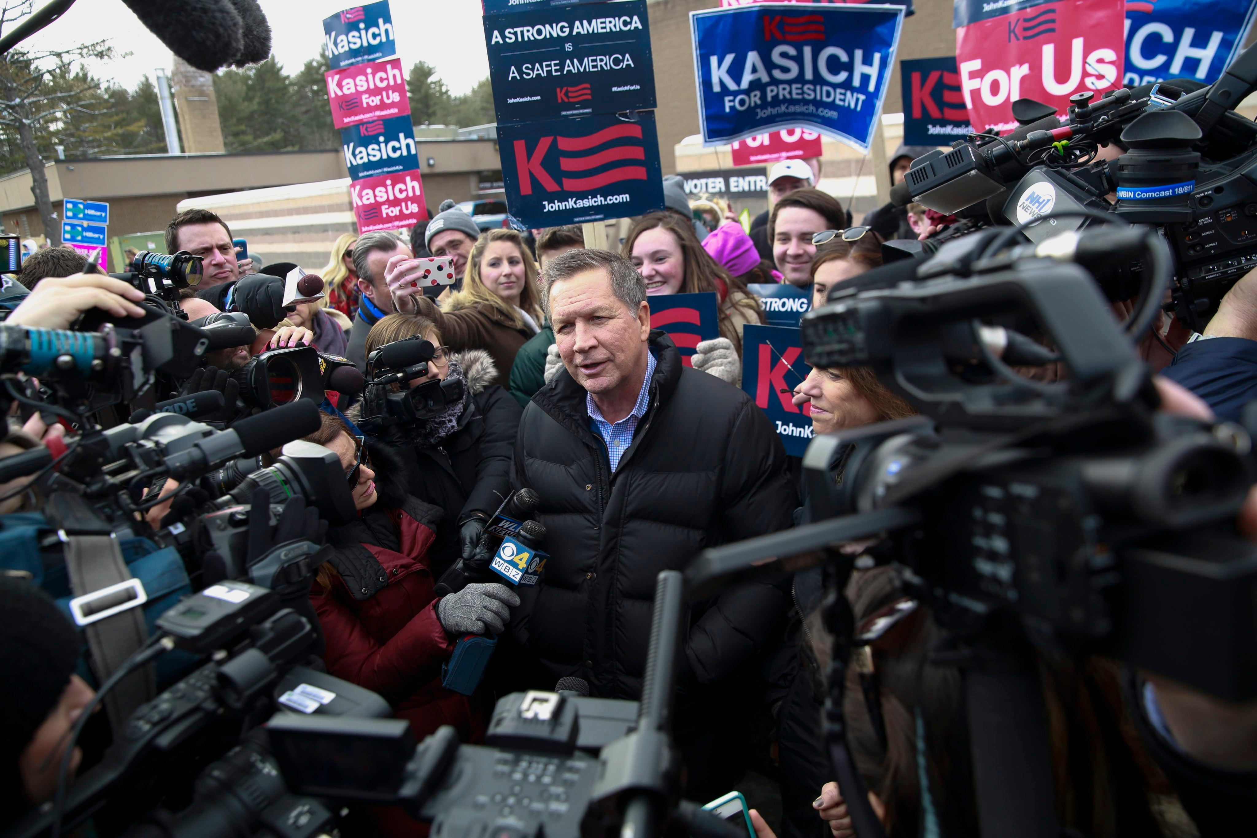 Republican candidate John Kasich is getting a lot of attention on the day of New Hampshire's primary.