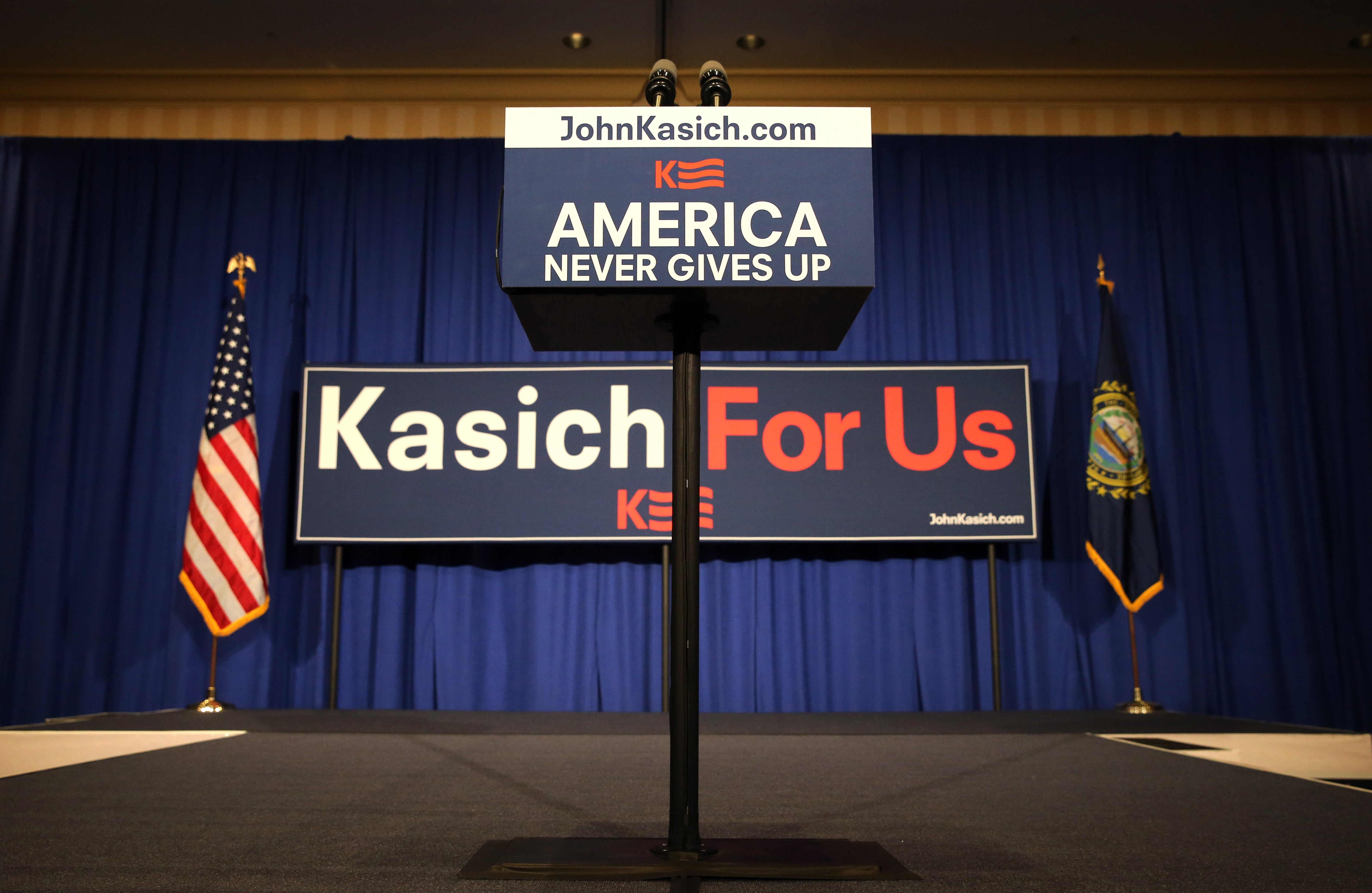 The scene is set for Kasich's New Hampshire primary election night party at the Grappone Conference Center in Concord, N.H.