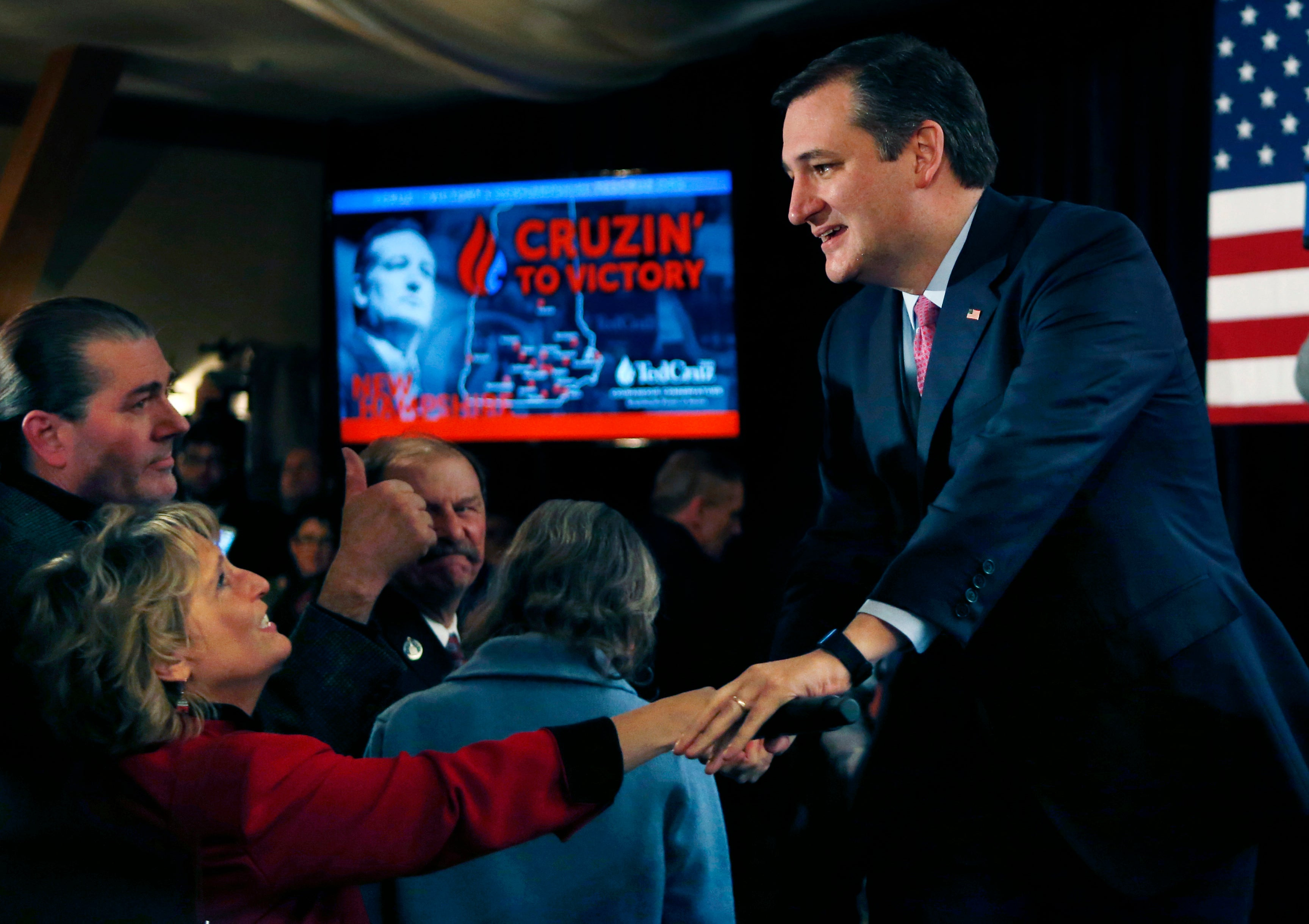 Cruz greets supporters on primary election night.