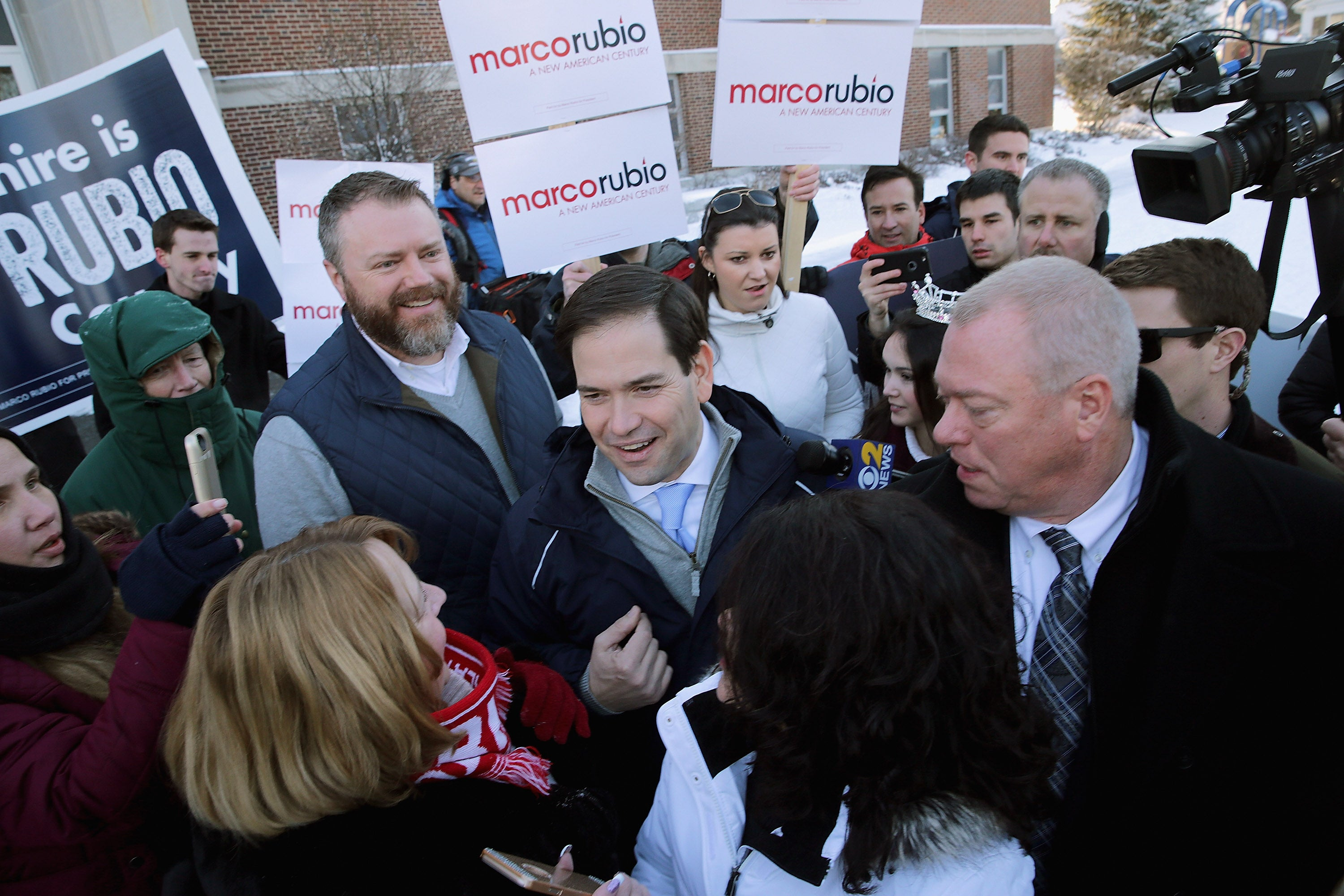 Rubio thanks supporters outside the polling place at Webster School in Manchester, New Hampshire.