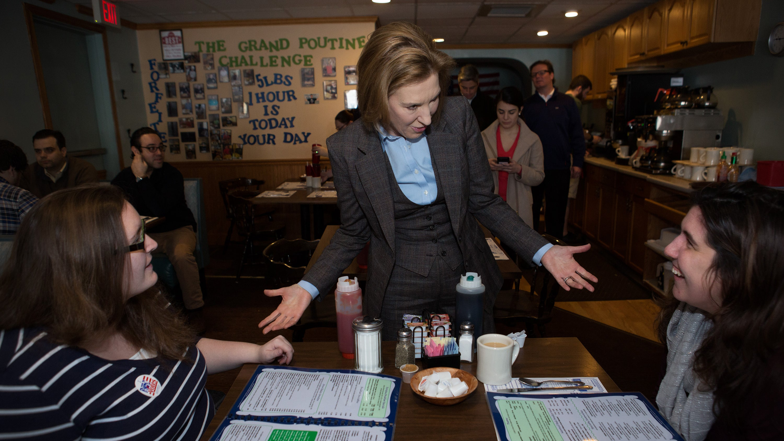 Republican presidential candidate Carly Fiorina campaigns at Chez Vachon in Manchester, New Hampshire.