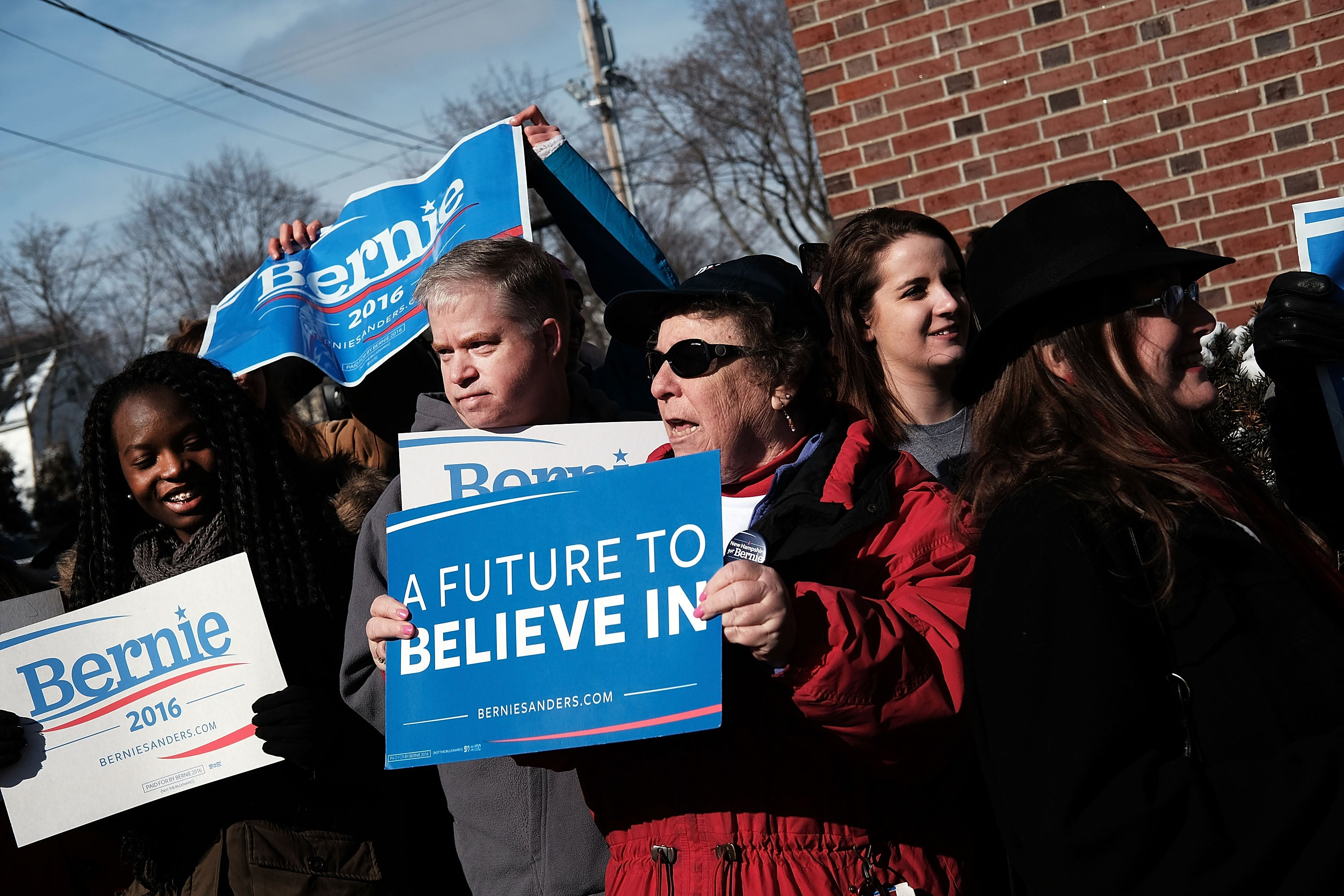 Supporters of Bernie Sanders wait for his arrival into downtown Concord, N.H. on Primary Day.