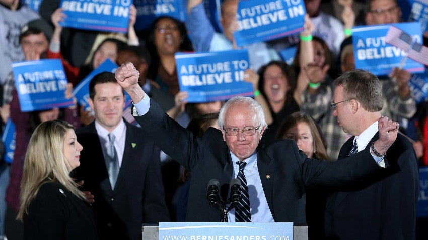 Sen. Bernie Sanders addresses supporters Tuesday night in Concord after winning the New Hampshire Democratic Primary.