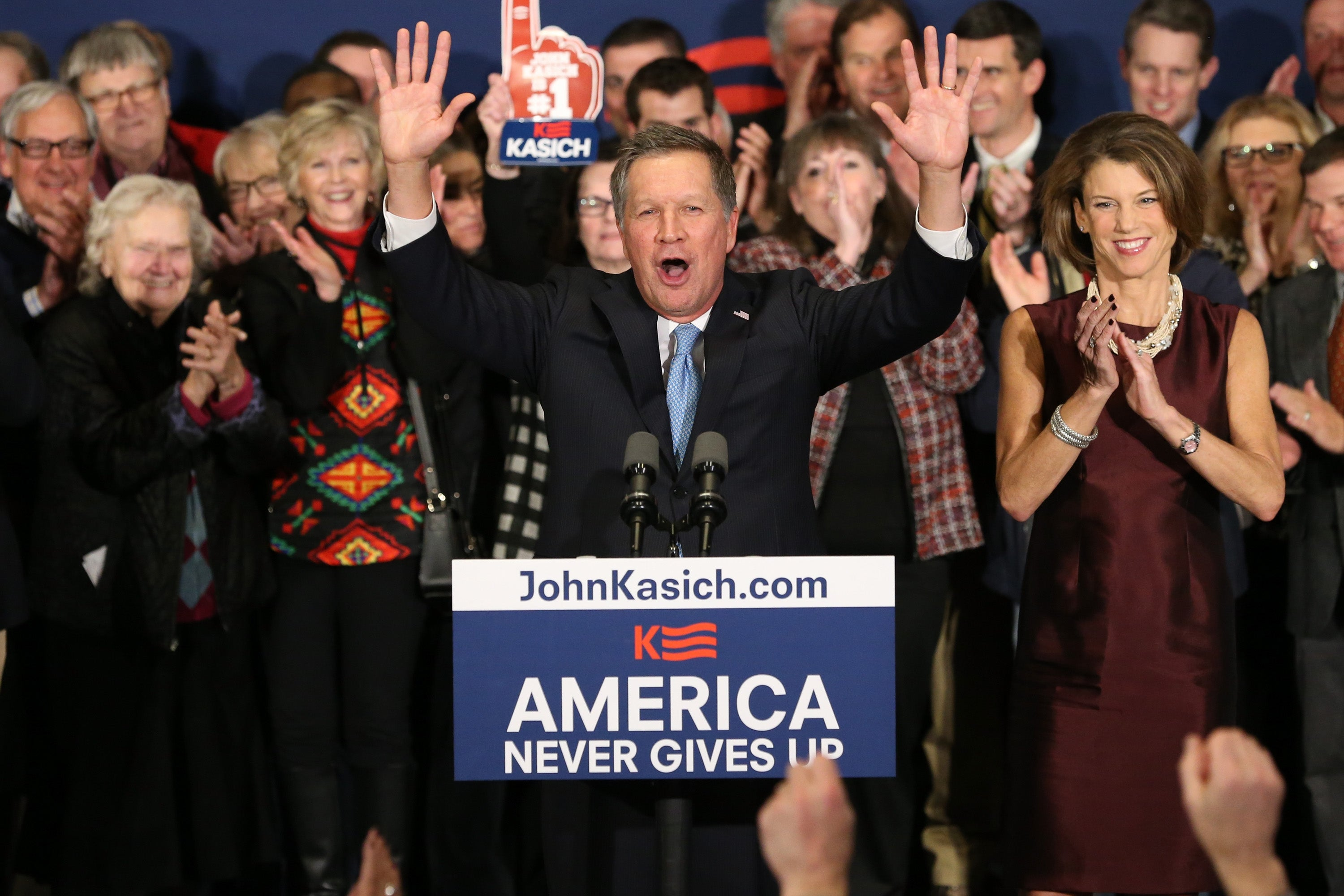 Kasich speaks at a campaign gathering with supporters upon placing second place in the primary.