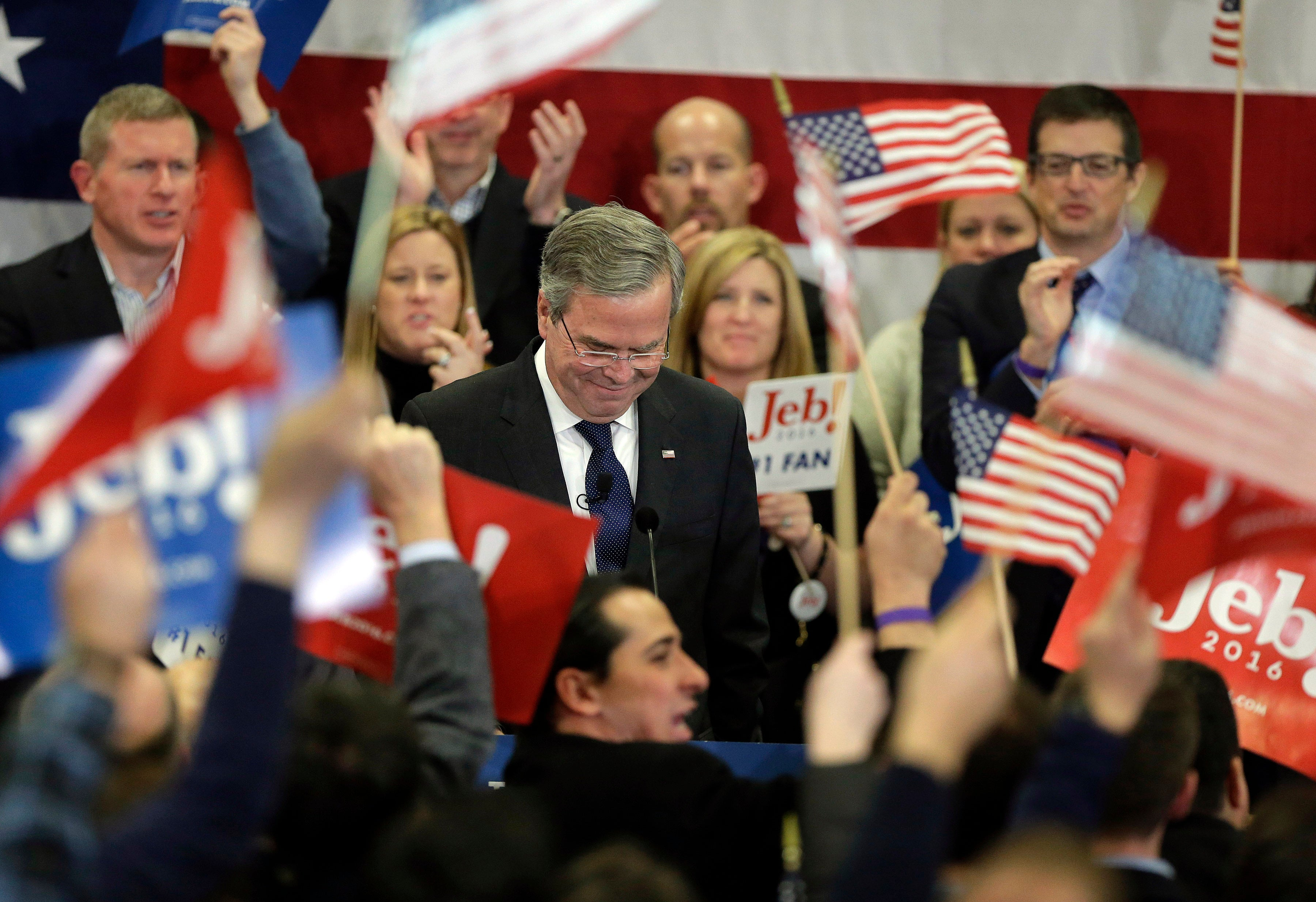 Bush speaks during a primary night rally.