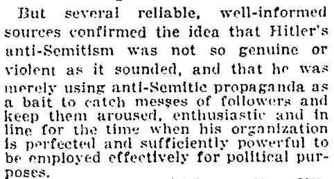 A 1922 New York Times article reporting on Hitler's rise.