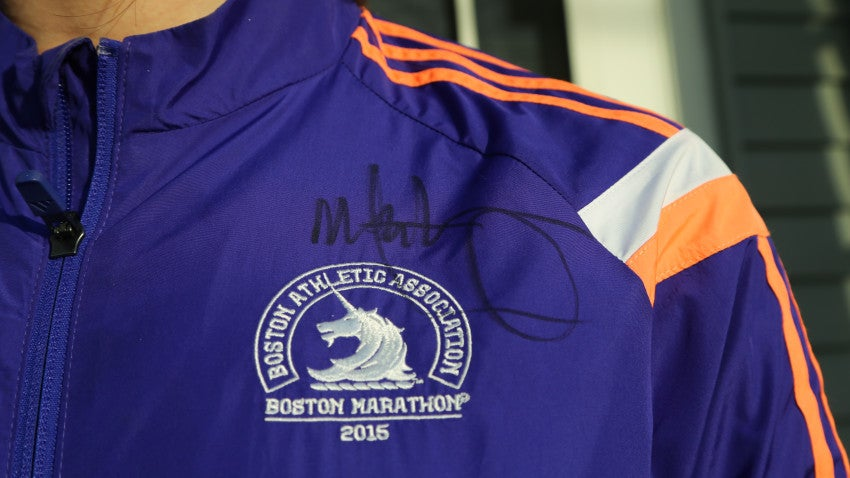 Mark Wahlberg's autograph on Emily Hannon's 2015 Boston Marathon jacket.