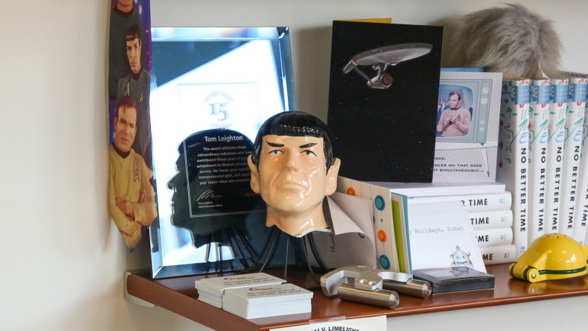 A huge Star Trek fan, Leighton routinely treats the whole office to movie nights, where he rents out a theater and pays for all staffers' tickets.