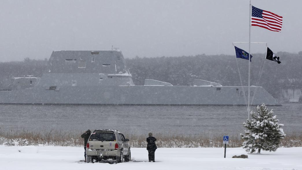 The USS Zumwalt passes Fort Popham on Monday.