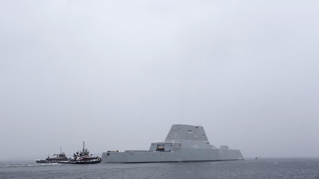 The USS Zumwalt heads out to sea Monday.