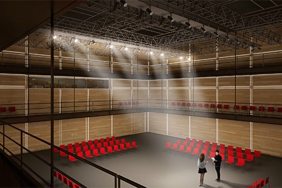 A rendering of the inside of BU's proposed new theater.