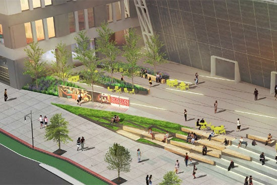 A rendering of BU's proposed plaza.