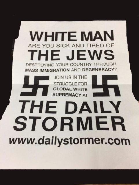 The anti-Semitic flyer sent to UMass printers Thursday.