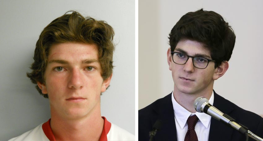 Owen Labrie in his July 2014 mug shot, and in August 2015 testifying at his trial.