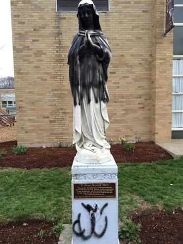Virgin Mary statue outside of St. Catherine's of Siena in Norwood