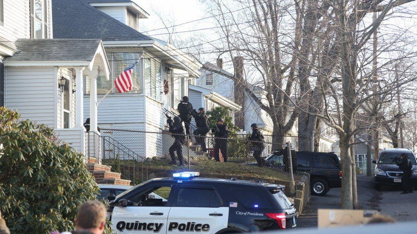 Cameras were rolling as SWAT team members simulated a scene for Patriots' Day.