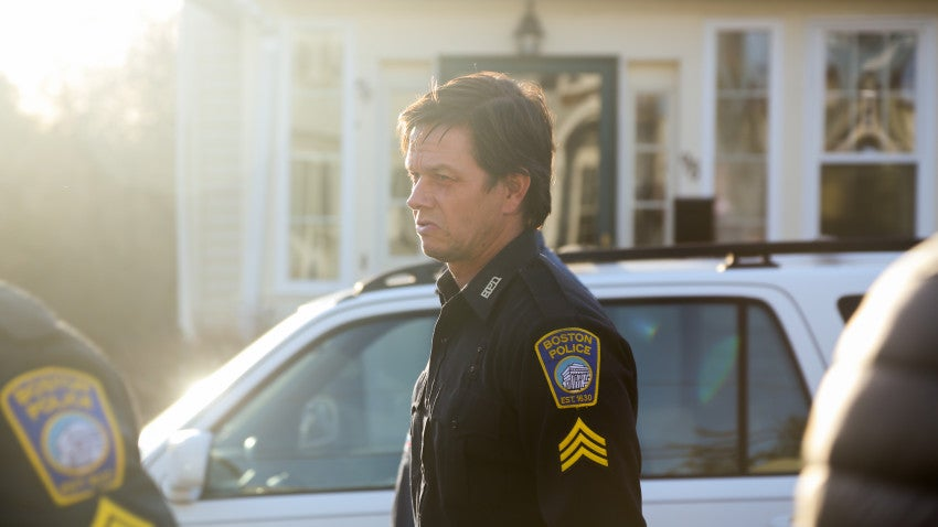 Mark Wahlberg on the set of Patriots' Day as the sun sets in Quincy.