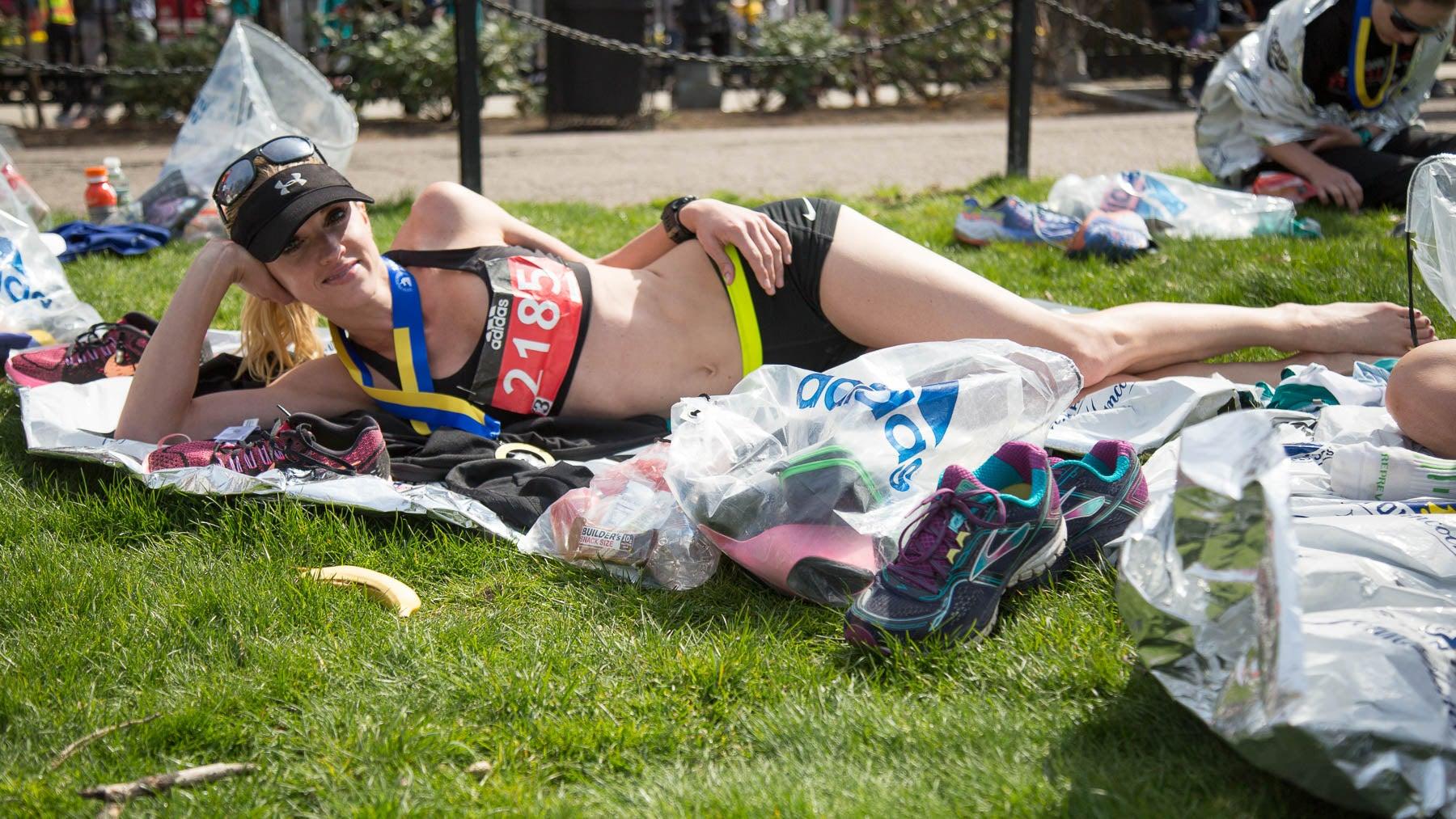 """""""I ran the Marathon last year and this year was basically the polar opposite. It was warm and sunny, and, this time, I could actually take in the cities. I absolutely loved Wellesley. I clapped every single one of those girls' hands and blew them all kisses,"""" Krissy Olsen, Salt Lake City."""