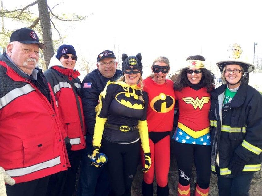 Susan Hurley with runners at Super Hero training run.