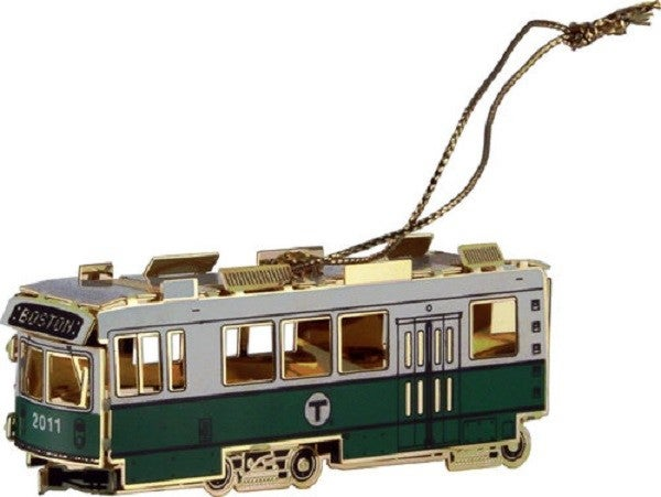 A Christmas ornament sold by WardMaps and the MBTA.