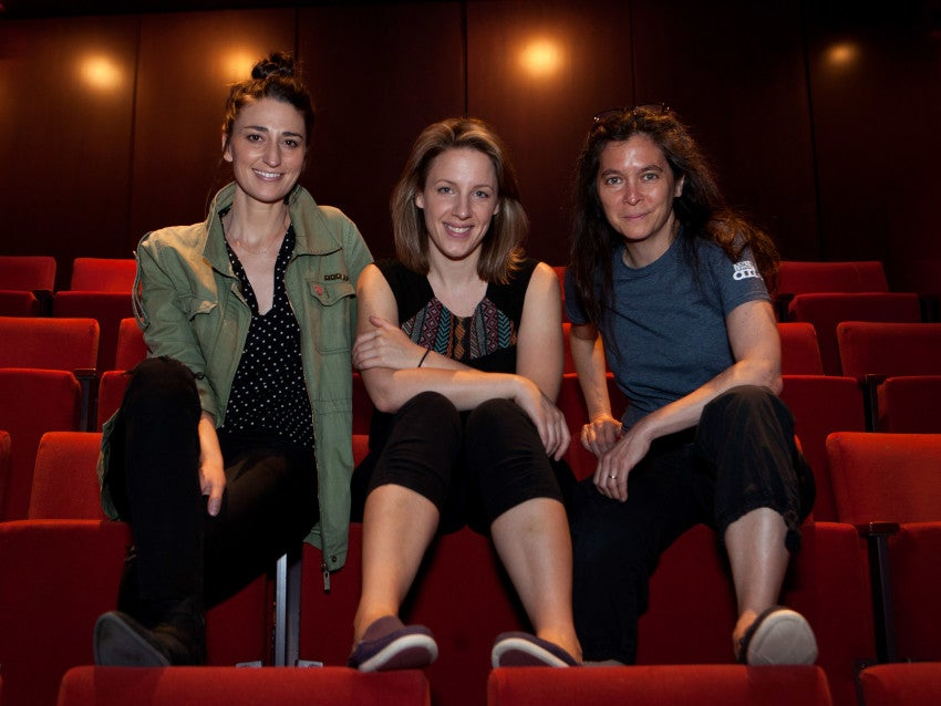 """Cambridge, MA -- 07/16/15 -- L-R: Composer Sara Bareilles, actress Jessie Mueller, and director Diane Paulus pose for a portrait during rehearsal of the musical """"Waitress"""" on July 16, 2015, in Cambridge, Massachusetts. (Kayana Szymczak for the Boston Globe)"""