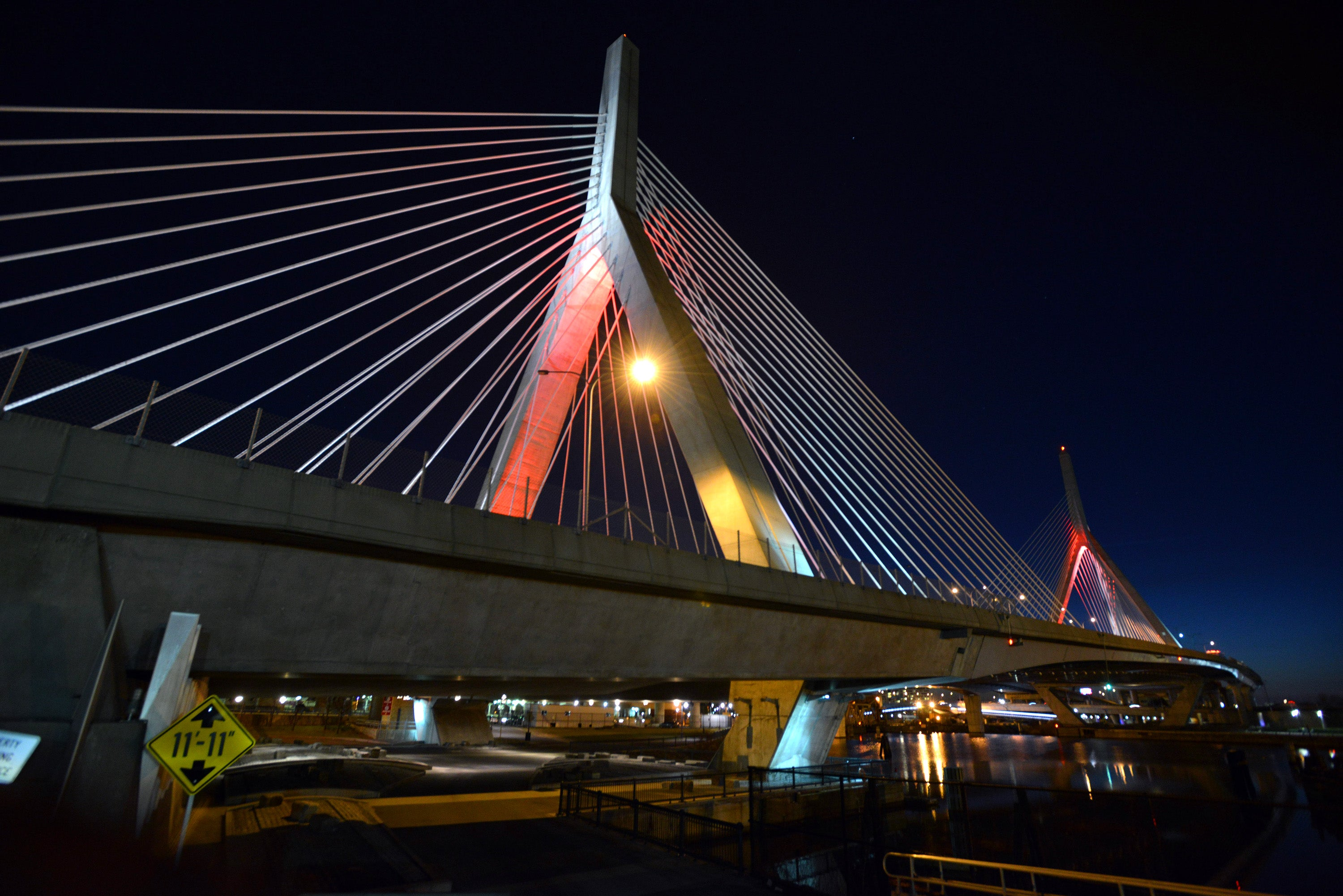 IMAGE DISTRIBUTED FOR BIOGEN - The Leonard P. Zakim Bunker Hill Bridge is illuminated red to raise awareness for the bleeding disorders community on World Hemophilia Day on Sunday, April 17, 2016 in Boston. (Josh Reynolds/AP Images for Biogen)