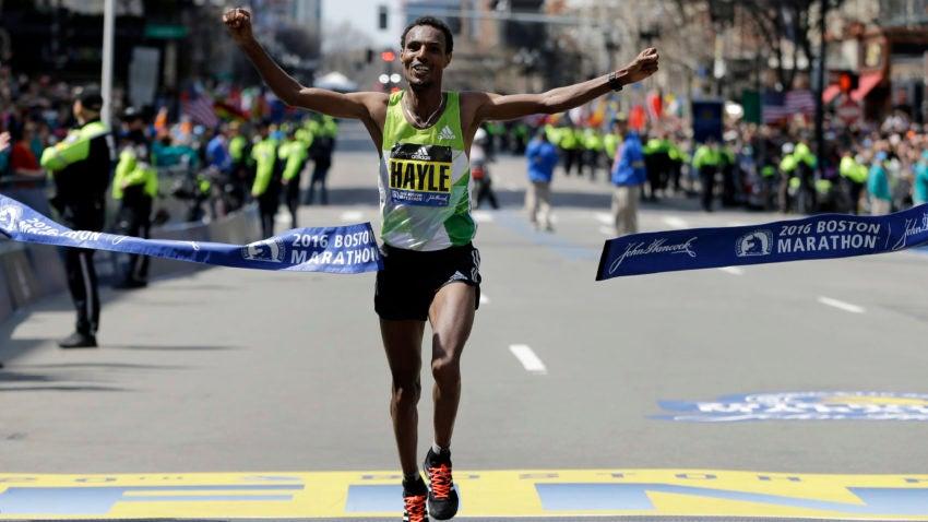 Lemi Berhanu Hayle, of Ethiopia, breaks the tape to win the 120th Boston Marathon on Monday, April 18, 2016, in Boston. (AP Photo/Elise Amendola)
