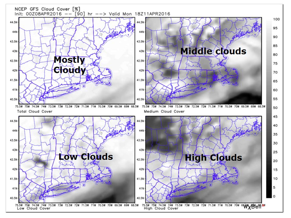 Cloud Cover Forecast Monday April 11th 2016