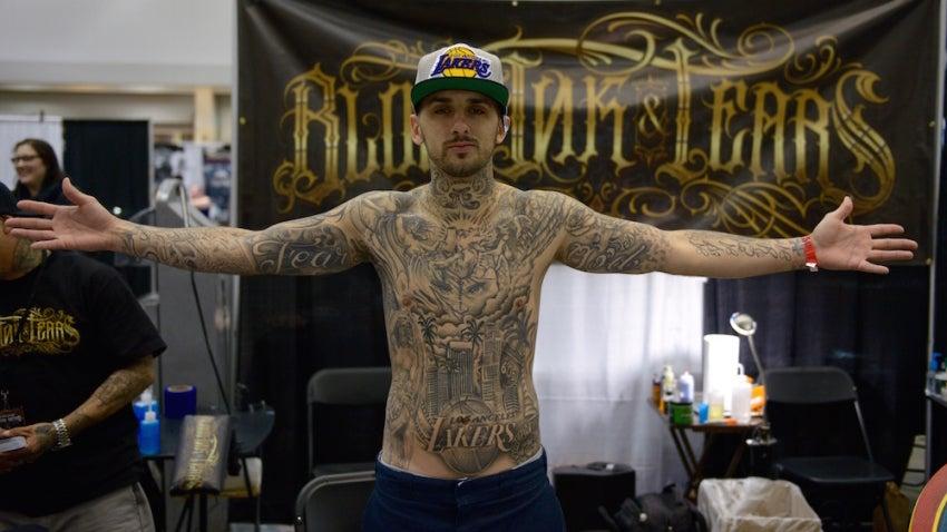 Artist Gil Mardid of Blood, Ink & Tears in Los Angeles wore his Laker pride on his sleeve. Literally.