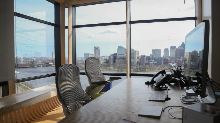 Most of Rapid7's walls are glass, providing a sweeping view of the Charles River and the city.